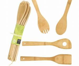 Couvert En Bambou : lot 4 ustensiles de cuisine en bambou couvert salade cuillere spatule trou 5720 ~ Teatrodelosmanantiales.com Idées de Décoration