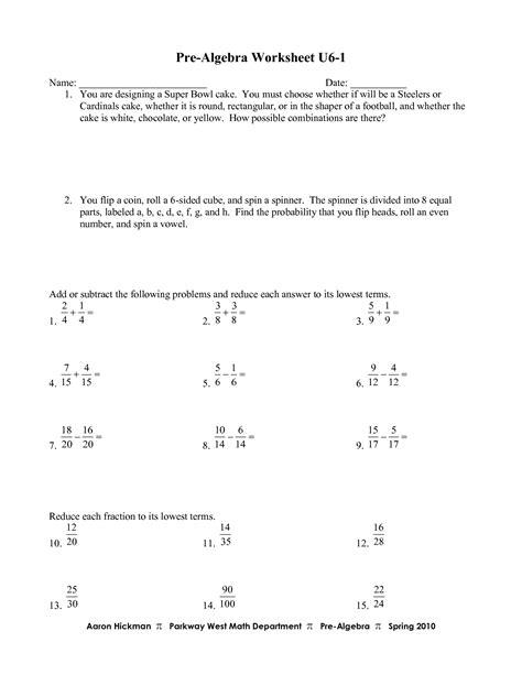 17 Best Images Of Pre Algebra Worksheets  Free Printable Math Worksheets Prealgebra, Pre