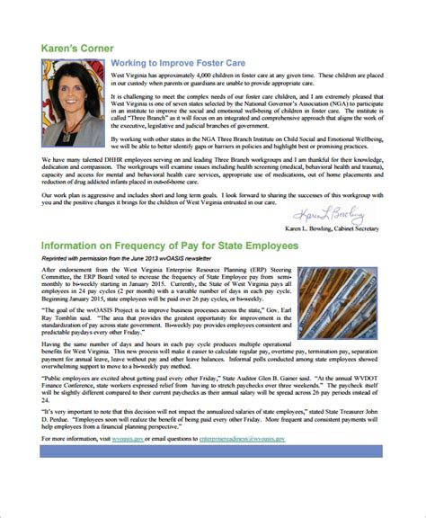 sample employee newsletter templates  ms word