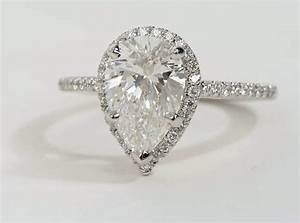 pear shaped halo diamond engagement ring in platinum With diamond shaped wedding ring