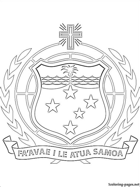 samoan coat  arms coloring page coloring pages