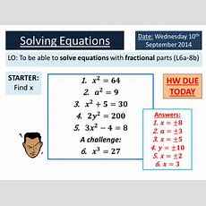 Ks34 Solving Equations With Fractions By Ryangoldspink  Teaching Resources