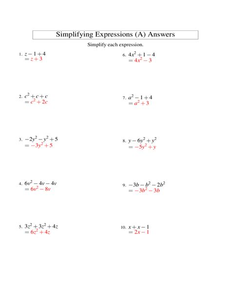 simplifying algebra worksheet and answers translating expressions and equations worksheet answers
