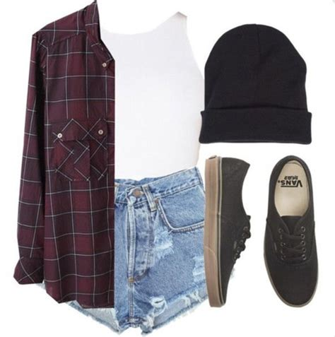 Shirt grunge flannel top street shorts vans outfit burgundy red dark maroon and black ...