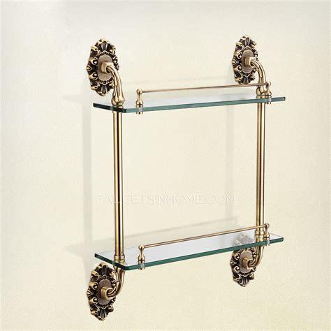 antique bronze double glass bathroom shelves
