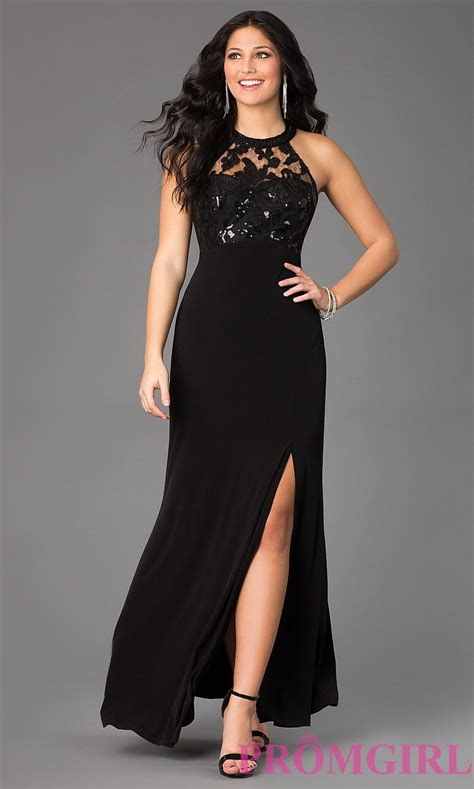 Black High-Neck Empire-Waist Prom Dress- PromGirl