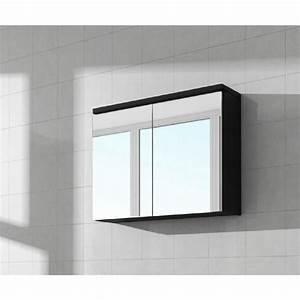 Miroir Meuble Salle De Bain : meuble miroir 80x50 cm noir brillance miroir armoire ~ Dailycaller-alerts.com Idées de Décoration