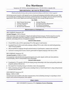 Sample resume for an advertising account executive for Advertising resume