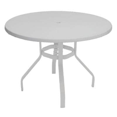 white round outdoor dining table marco island 42 in white round commercial fiberglass