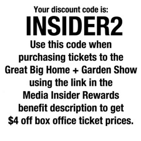 get a discount on tickets to the great big home garden show