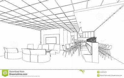 Sketch Interior Outline Meeting Area Layout Pantry