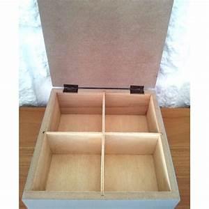 Boîte à Thé Compartimentée : boite a the compartimentee en bois grise coeur dentelle blanc ~ Teatrodelosmanantiales.com Idées de Décoration