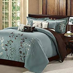 amazon com 8 piece modern bedding comforter set in floral embroidery on sale king size sage