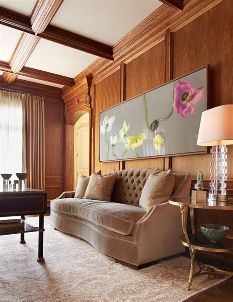 inviting living room  wood paneling wall warm color