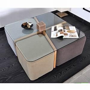 Table Basse Pouf Intégré : table basse avec pouf beige le bois chez vous ~ Dallasstarsshop.com Idées de Décoration