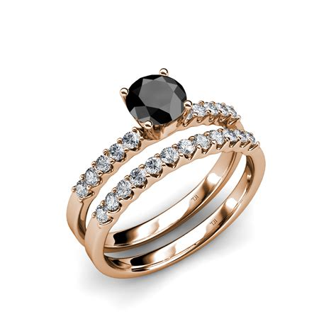 glamour  cheap black diamond wedding ring sets