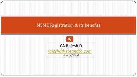 Msme Registration And Its Benefits