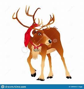 Deer, In, A, Funny, Santa, S, Red, Cap, Vector, Illustration, Stock, Vector