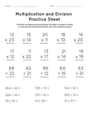 multiplication  division practice sheet  worksheet