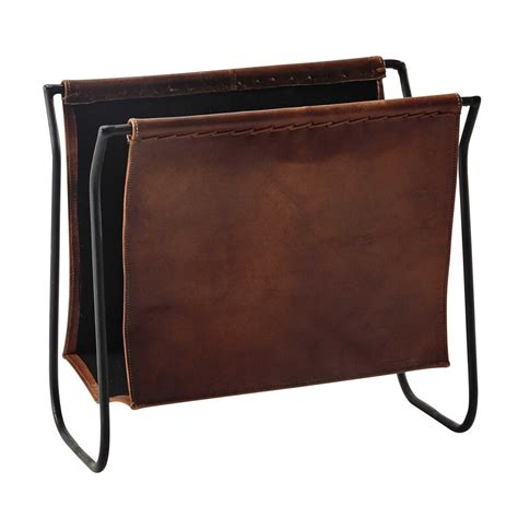 Calvin Leather And Metal Magazine Rack In Brown Maisons