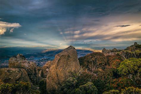 Mt Wellington, Wellington Park, Australia   Anticrepuscular Rays