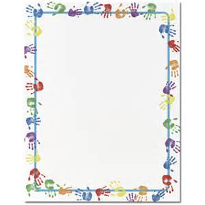 colorful handprints border paper your paper stop