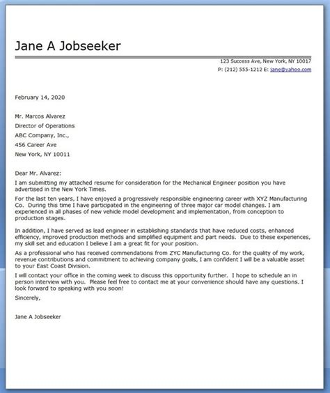 cover letter mechanical engineer sle cover letter for resume cover letter for resume