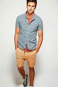 Pale Blue Shirt with Dots, Slight Drop Crotch Khaki Shorts ...