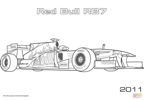 Red Bull Rb7 Formula 1 Racing Car Coloring Page Free