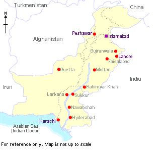 pakistan map cities  world asia afghanistan