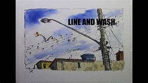 Line and wash urban sketch style,Easy painting watercolor ...