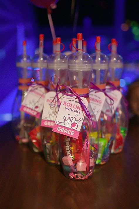 Pink bowling party: Grace is 4 Bowling party favors