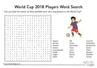 world cup countries word search
