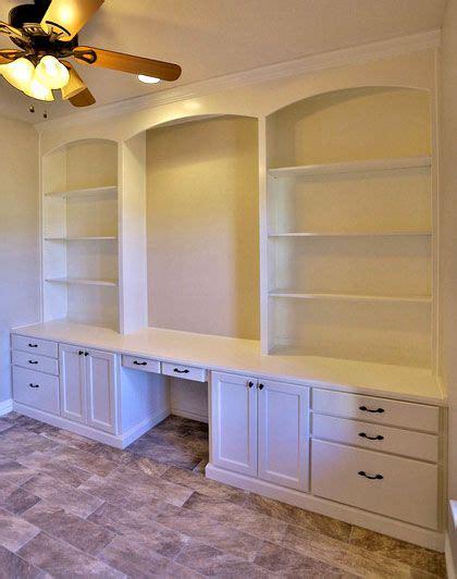 White Builtin Bookshelves With Desk  Taylorcraft Cabinet