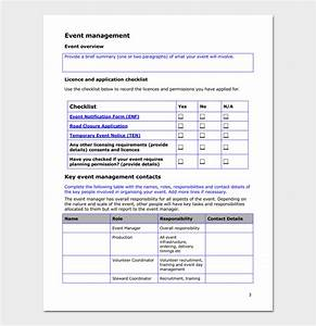 Event Action Plan Template - For Word, Excel & PDF