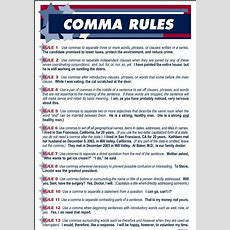 Comma Rules Why Can't English Teachers Put This Up In Their Classrooms?! Haha G5grammar