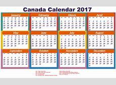 Canada Calendar 2017 printable with public holiday