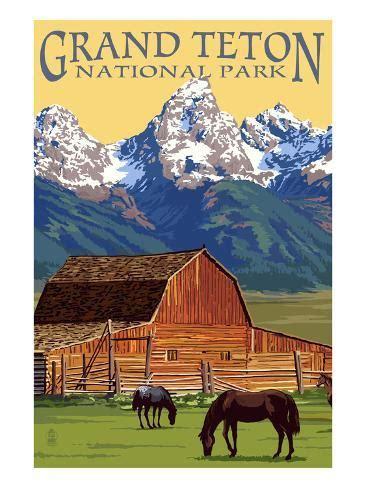 grand teton national park barn  mountains art
