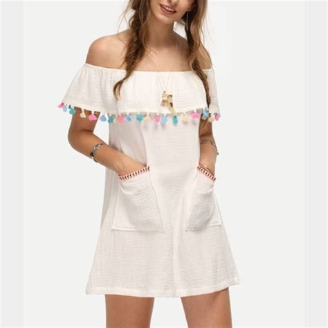 multi colored dress dresses white the shoulder multicolored tassel dress