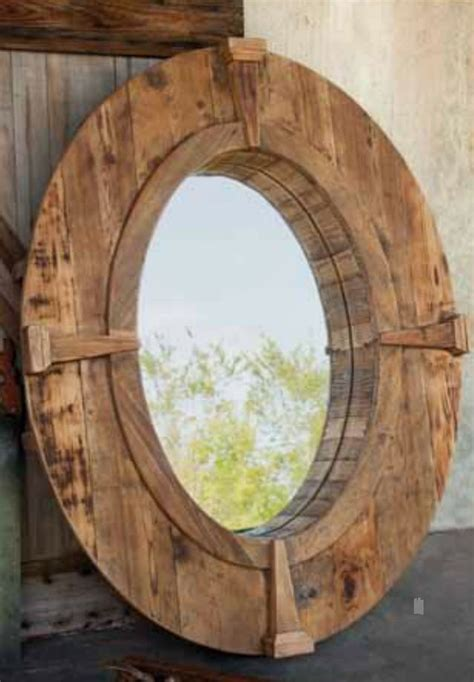 rustic oval wooden farm mirror  wood frame