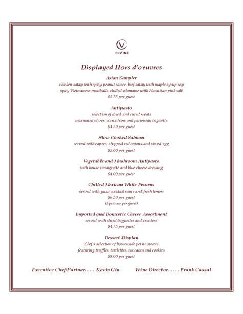 cocktail sle menu free