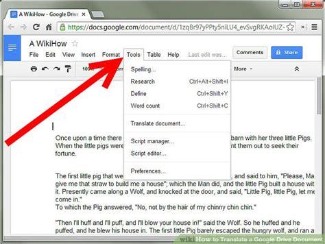 translate  google drive document  steps