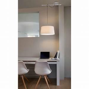 Suspension Luminaire Blanc : suspension fusta abat jour blanc 28394 faro ~ Teatrodelosmanantiales.com Idées de Décoration