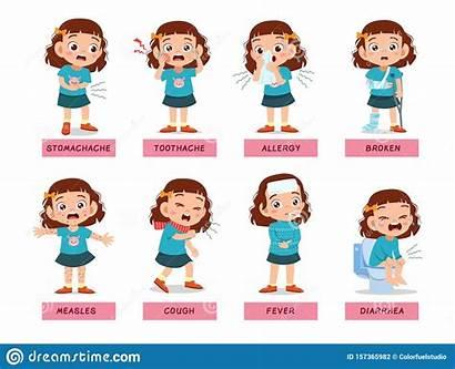 Sick Cartoon Headache Child Person Illustrazione Disease