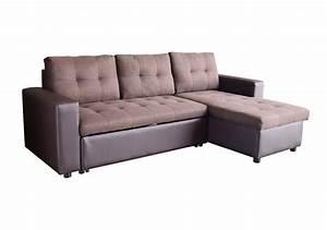 Canapé D Angle Convertible Marron : canap d 39 angle convertible flexy pu tissu marron canap s et fauteuils salon ~ Teatrodelosmanantiales.com Idées de Décoration