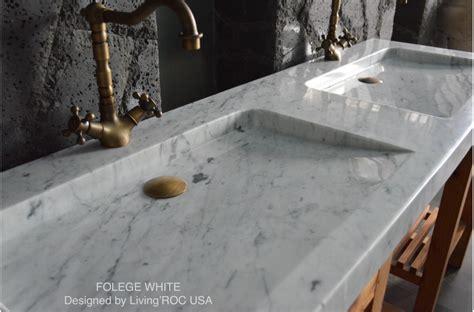 63 white carrara marble trough bathroom sink