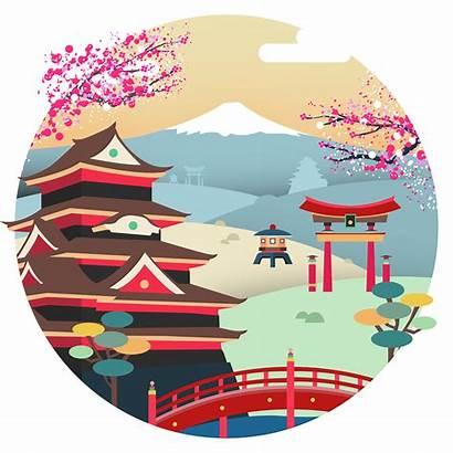 Japan Vector Tokyo Illustration Clipart Mountain Behance