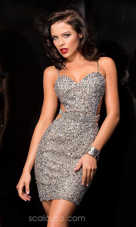 sequin open  scala dress promgirl