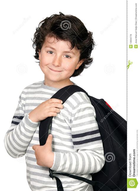 beautiful student child  heavy backpack royalty