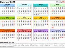 Excel Calendar 2020 UK 16 printable templates xlsx, free